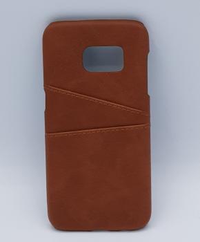 Voor Samsung S7 - kunstlederen back cover / wallet bruin