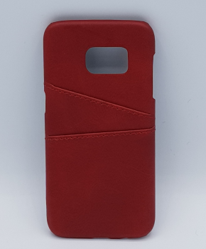 Voor Samsung S7 - kunstlederen back cover / wallet rood