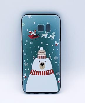 Samsung S7 Edge hoesje  - kerst - ijsbeer met muts
