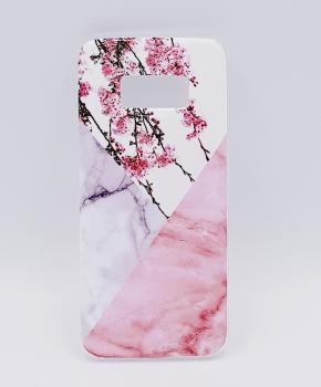 Voor Samsung S8 - hoesje - Triangle Marble flower pink