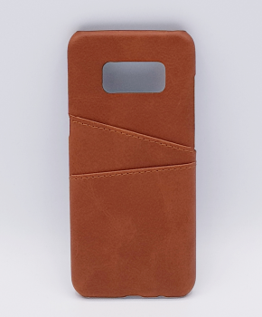 Voor Samsung S8 - kunstlederen back cover / wallet bruin