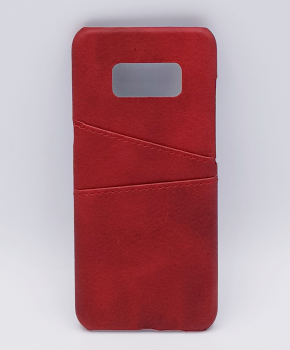 Voor Samsung S8 - kunstlederen back cover / wallet rood