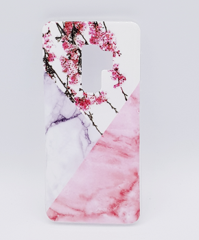 Voor Samsung S9 Plus - hoesje - Triangle Marble flower pink