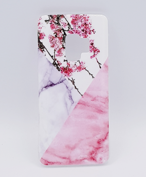 Voor Samsung S9  - hoesje - Triangle Marble flower pink