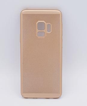 Voor Samsung Galaxy S9 - hoesje - metaal gaas look - goud