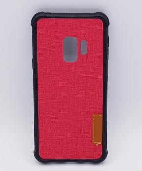 Voor Samsung Galaxy S9 - hoesje  - Jeanslook - Rood