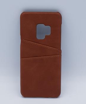 Voor Samsung S9 - kunstlederen back cover / wallet bruin