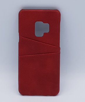 Voor Samsung S9 - kunstlederen back cover / wallet rood