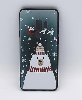 Samsung S9 Plus hoesje  - kerst - ijsbeer met muts