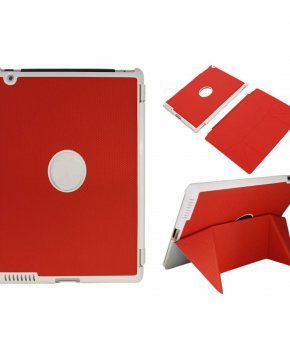 Voor iPad 2/3 smart case / hoes  - met magnetische opvouwbare standaard - rood
