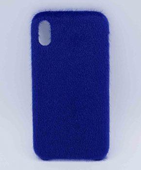 Voor IPhone XR  hoesje - zacht pluizig - blauw