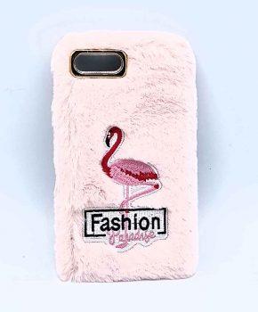 Voor IPhone 7 / 8 - pluizig hoesje - flamingo roze