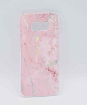 Voor Samsung Galaxy S8 - hoesje - Pink marble flash