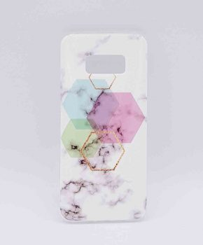 Voor Samsung Galaxy S8 - hoesje - White Marble Hexagon