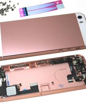 Complete behuizing voor iPhone SE - kabels en schroefset - Rose goud