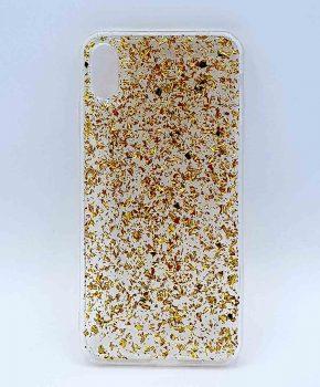 iPhone XR - hoesje - transparant - gouden glitters
