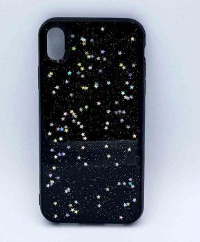 iPhone XR - hoesje - transparant - zwart met glitters