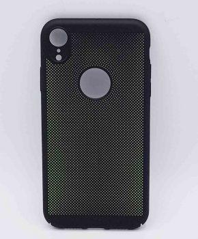 Voor IPhone XR - hoesje - metaal gaas look - zwart