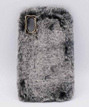 zacht pluizig - Konijnenbont  - grijs - case voor iPhone XR