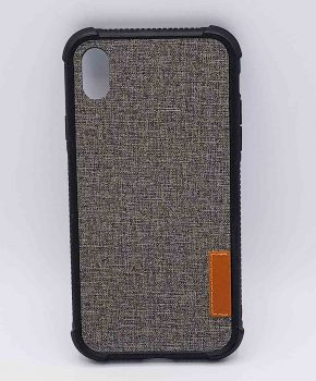 Voor IPhone XR - hoesje - Jeanslook - grijs