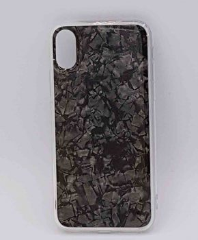 Voor IPhone XR  -  half transparant hoesje - black flakes
