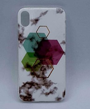 iPhone XR - hoesje - White Marble Hexagon