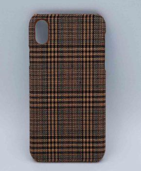 iPhone XR - hoesje - stof - schotse ruit klein - bruin