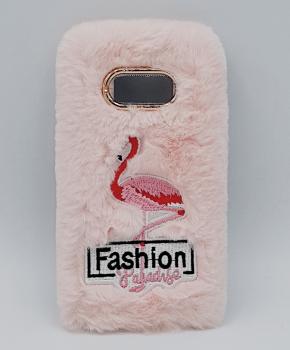 Voor Samsung S8 - pluizig hoesje - flamingo roze