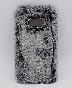 Voor Samsung S8 - pluizig hoesje - grijs
