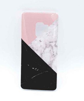 Voor Samsung S9  – hoesje – 3 hoek marmer pink