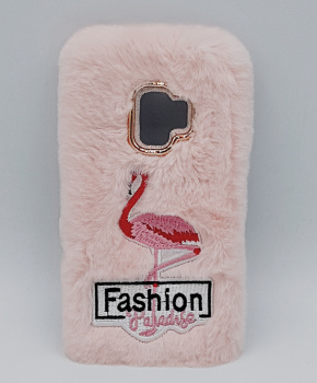 Voor Samsung S9 - pluizig hoesje - flamingo roze