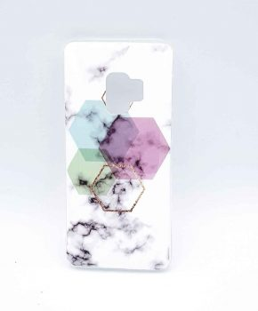 Voor Samsung Galaxy S9 - hoesje - White Marble Hexagon