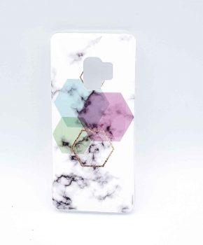 Voor Samsung Galaxy S9 - hoesje - White Marble Hexagon