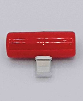 Capsule dual Light-ning Splitter - 8 pins en 3.5 mm jack - rood