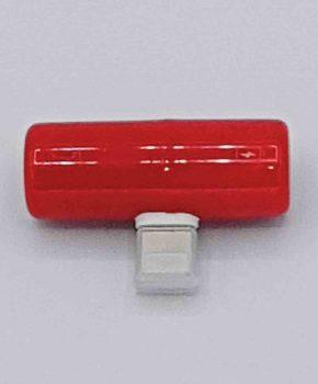 Capsule dual Light-ning Splitter - 8 pins en 3.5 mm jack - rood