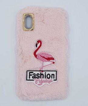 Voor IPhone X / XS- pluizig hoesje - flamingo roze