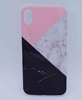 Voor IPhone XR – hoesje - 3 hoek marmer pink