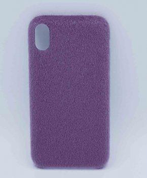Voor IPhone XR  hoesje - zacht pluizig - paars