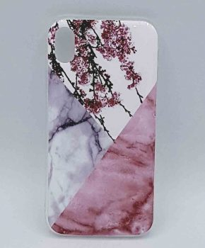 Voor IPhone XR – hoesje - Triangle Marble flower pink