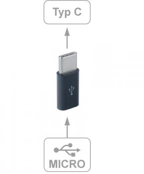 Micro USB female naar USB C male - adapter - zwart