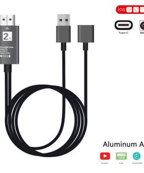 2 in 1 - Type-C + MHL Micro-usb naar HDMI kabel - zilver