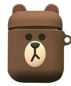 Cartoon Airpods Silicone Case Cover Hoesje voor Apple Airpods - Brown bear - met karabijn