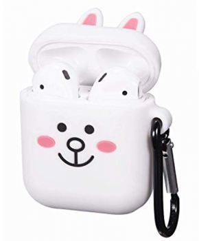 Cartoon Airpods Silicone Case Cover Hoesje voor Apple Airpods - white rabbit - met karabijn