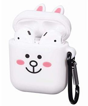 Cartoon Airpods Silicone Case Cover Hoesje voor Apple Airpods - white rabbit - met karabijn
