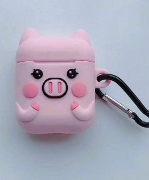Cartoon Airpods Silicone Case Cover Hoesje voor Apple Airpods - cute piggy - met karabijn