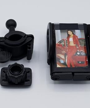 360 graden motor/fiets mobiele telefoon houder met fotolijstje - zwart