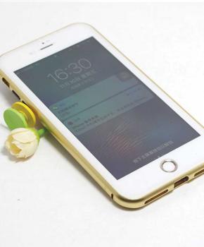 Magnetische case met voor - achterkant gehard glas voor de iPhone 6/6S - Goud
