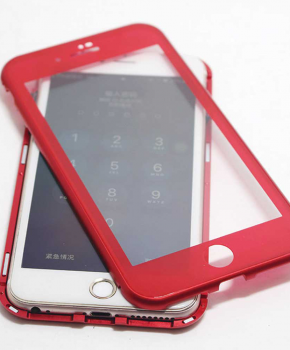 Magnetische case met voor - achterkant gehard glas voor de iPhone 6/6S - Rood