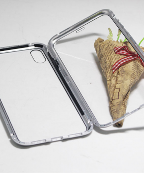 Magnetische case met voor - achterkant gehard glas voor de iPhone 7/8 Plus- Zilver