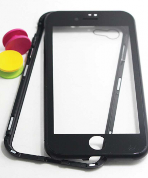 Magnetische case met voor - achterkant gehard glas voor de iPhone 6/6S Plus - Zwart